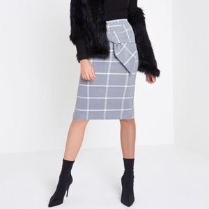 River Island Grey Wise Check Bow Pencil Skirt